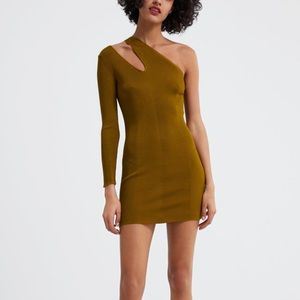 Zara olive green dress with cut outs